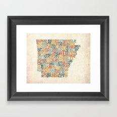 Arkansas by County Framed Art Print