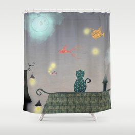 Cat in the Night with Flying Fish and Stars Shower Curtain