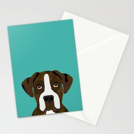 Boxer brindle coat dog breed pet portrait dog head peeking cute dog gifts for boxers Stationery Cards