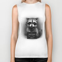 rocket raccoon Biker Tanks featuring Raccoon Mugshot by Company of Wolves