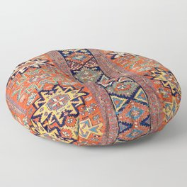 Southwestern Farmhouse V // 19th Century Colorful Red Yellow Blue Green Aztec Farm Stars Pattern Floor Pillow
