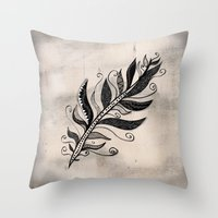 feather Throw Pillows featuring FEATHER by Nika