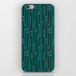 Dotted Lines in Teals iPhone Skin