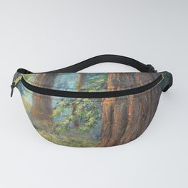 Big Basin Redwood Grove, California landscape painting by Leonora Naylor Penniman Fanny Pack