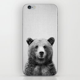 Grizzly Bear - Black & White iPhone Skin