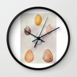 Egg Variety Scientific Study Watercolor Painting Wall Clock