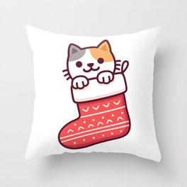 Cat in Christmas stocking Throw Pillow