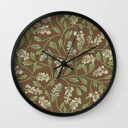 Acacia false branches on brown background Wall Clock