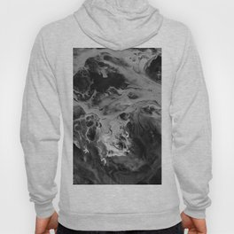 Black and Gray Moon Crater Abstract Fluid Painting Hoody
