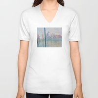 monet V-neck T-shirts featuring Claude Monet - Le Grand Canal by Elegant Chaos Gallery