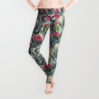 abstract art Leggings featuring Painted Protea Pattern by micklyn