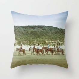 Balade à cheval, beach, Touquet Throw Pillow