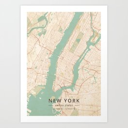 New York, United States - Vintage Map Kunstdrucke