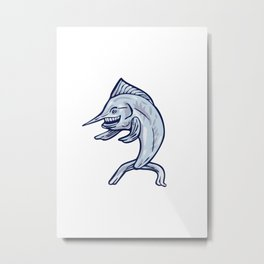 Blue Marlin Fish Isolated Cartoon Metal Print