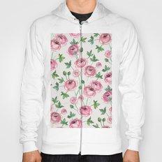 Painted Pink Ranunculus Pattern Hoody