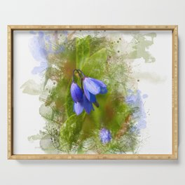 Pretty bluebells on white Serving Tray