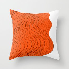 Waves Lines in Orange Throw Pillow