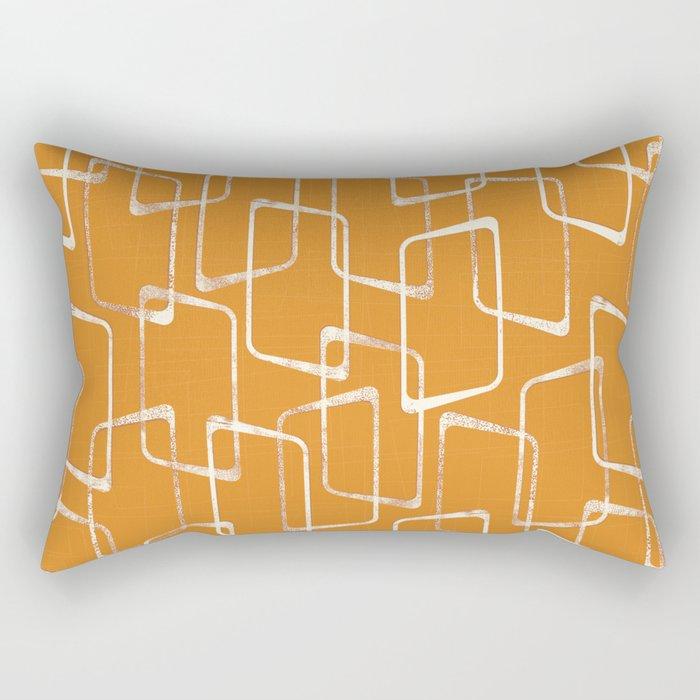 Retro Orange Lino Print Geometric Pattern Rectangular Pillow