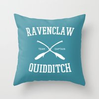 quidditch Throw Pillows featuring Hogwarts Quidditch Team: Ravenclaw by IA Apparel