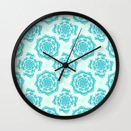 Aqua Mandala Wall Clock