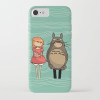 ponyo iPhone & iPod Cases featuring totoro and ponyo by Newspaper Balloon