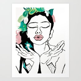 Kisses: a pretty, minimal, portrait illustration in black and white with a hint of color Art Print