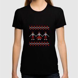 Traditional Romanian dancing people cross-stitch motif black T-shirt