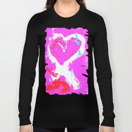 Pink Graffiti Ribbon for Breast Cancer Research by Jeffrey G. Rosenberg Long Sleeve T-shirt
