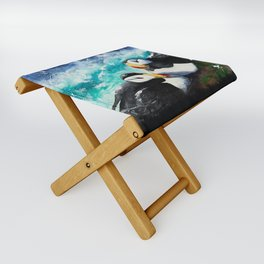 Puffins - Always together - by LiliFlore Folding Stool