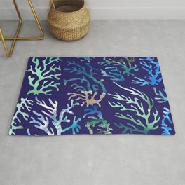 underwater blue corals Rug