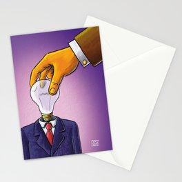 Light Bulb Head Businessman Stationery Cards