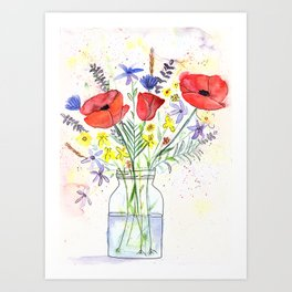 Poppy bouquet in a mason jar Art Print
