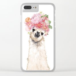 Llama with Beautiful Flowers Crown Clear iPhone Case