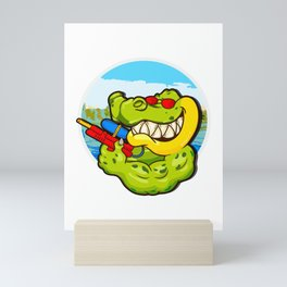 Alligator Ready To Get Soaking Fun For Summer Water Play Mini Art Print