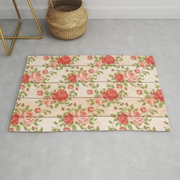 Roses On Wood Chic Pattern Rug