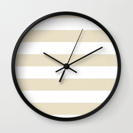 Horizontal Stripes - White and Pearl Brown Wall Clock