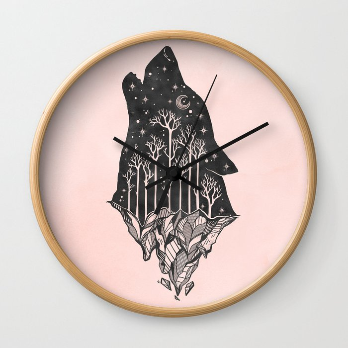 Adventure Wolf - Nature Mountains Wolves Howling Design Black on Pale Pink Wall Clock