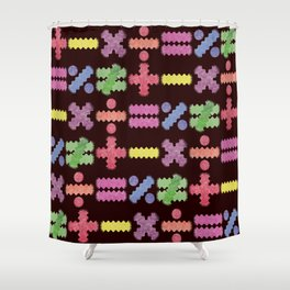 Seamless Colorful Abstract Mathematical Symbols Pattern II Shower Curtain