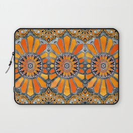Celebrating the 70's - tangerine orange watercolor on grey Laptop Sleeve