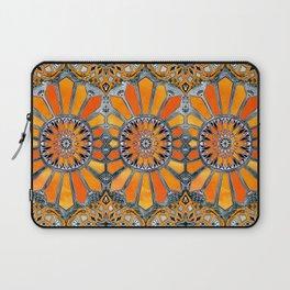 Celebrating the 70's - tangerine orange watercolor on grey Laptop Sleeve