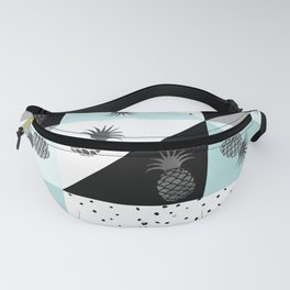 Teal black white dots pineapple geometrical color block Fanny Pack