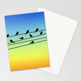 Birds on Power Lines Blue Yellow Sunset Gradient Stationery Cards
