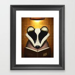 Badger Reading Framed Art Print