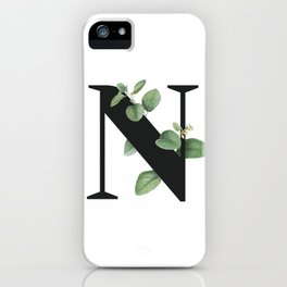 Letter N Initial Floral Monogram Black And White Poster iPhone Case