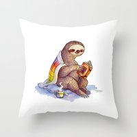 sloth Throw Pillows featuring Sloth by KteaCrumpet