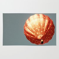 baloon Area & Throw Rugs featuring Strawberry hot air baloon by Wood-n-Images