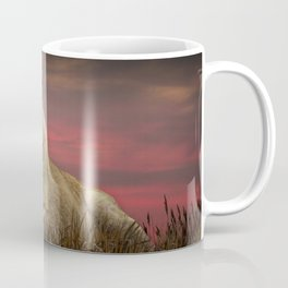 African Female Lion in the Grass at Sunset Coffee Mug