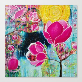 STAINED GLASS MAGNOLIAS Canvas Print