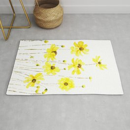 yellow cosmos flowers watercolor Rug
