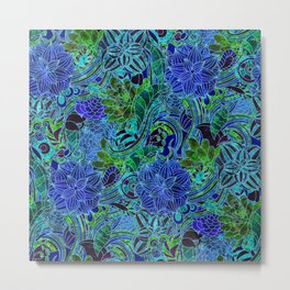 Blue Green Flower Pattern Metal Print